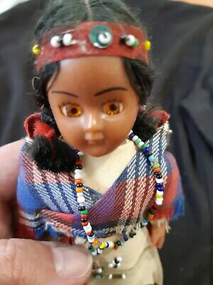 Creepy Doll Native American with Twins in papoose