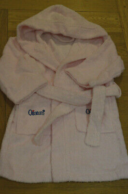 Girls Children Dressing Gown Pink Fluffy Bath Robe Plain NEW 2/3 Years