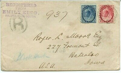 EMILY KING Halifax Registered to Iowa USA, cover Canada