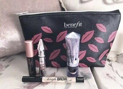 Benefit Gimme Brow Roller Lash High Brow And Watt's Up Set With Cosmetic Bag
