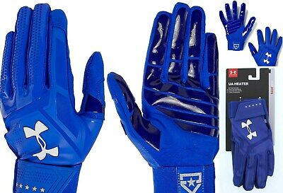 Under Armour men's UA $40 HEATER Baseball Batting Gloves BLUE 1299540 size L