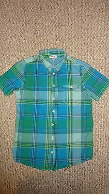 Boys Turquoise Plaid Button Down Short Sleeve Shirt By Cherokee In Size X-Large