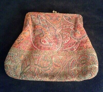 PURSE Antique Style Brocade Tapestry Clutch Pure Silk Lined Vintage