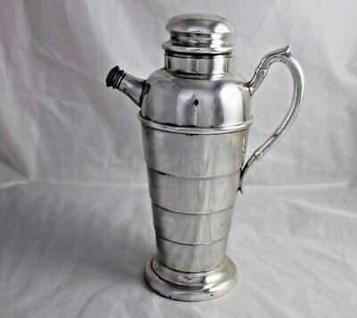 Art Deco Silver Plate Cocktail Shaker Martini Mixer Vintage Skyscraper Barware