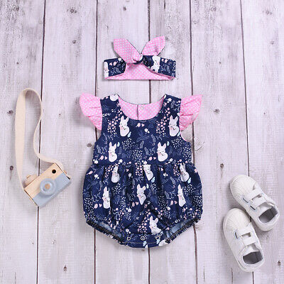Baby Girl Fox Romper Newborn Headband Infant Jumpsuit Bodysuit Clothes Outfit