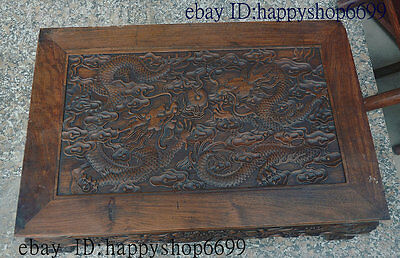 "26"" Chinese Huanghuali Wood Hand carved Dragon Play ball Tea table Desk Teapoy"