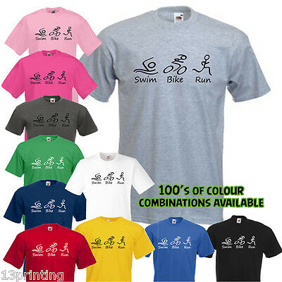 99462ef2 SWIM BIKE RUN T-Shirt, Triathlon Slogan Unisex Tee - £7.95 | PicClick UK