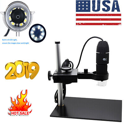 1000X Magnification 8 LED USB Digital Microscope Camera Magnifier+Stand W0D6