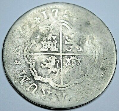 1720's Spanish Silver 2 Reales Piece of 8 Real Colonial Era Two Bits Pirate Coin