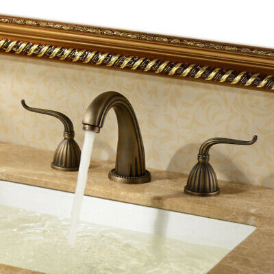 Widespread Brass Bathroom Sink Faucet Two Handles 3 Hole Basin Mixer Tap Antique