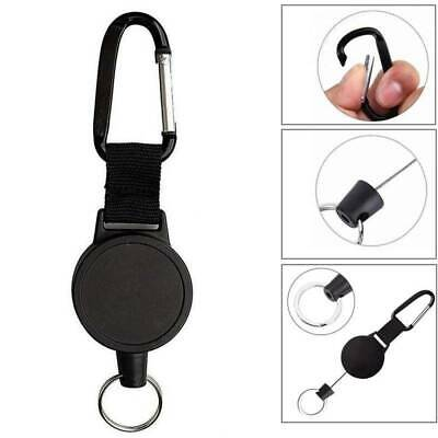 Retractable Key Ring Carabiner Pull Chain Holder Belt Clip Recoil Extend To 60cm