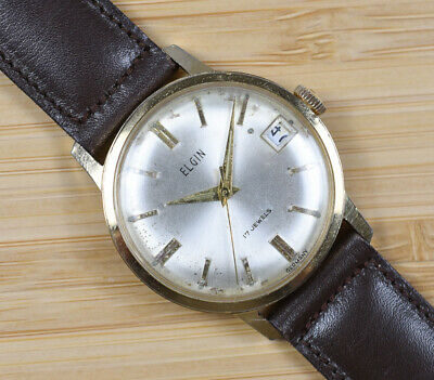 Vintage ELGIN 17 Jewel Manual Wind Round Gold Plated Watch Leather Band