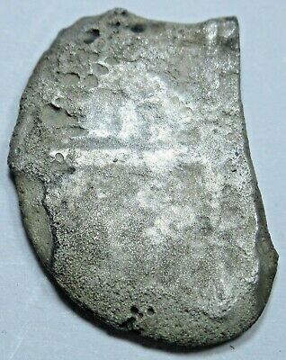 Genuine Spanish Silver Shipwreck Fragment 1 Reales Piece of 8 Pirate Cob Coin