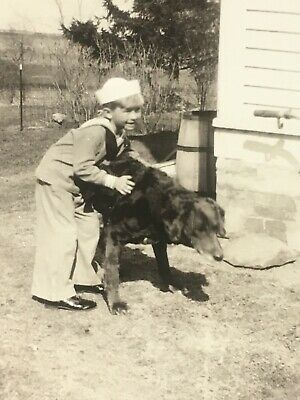 "Vintage Snapshot Photo Picture Boy in Sailor Suit w/ Large Dog ""Brownie"" B&W VTG"