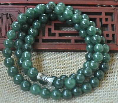 100% Natural A green Emerald Jade Pendant Necklace Have certificate 8MM