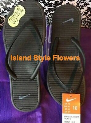 8019af089297 Women s NIKE SOLARSOFT THONG 2 Flip Flops Sandals 488161 090 Black Grey  SIZE 10