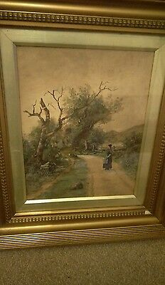 beautiful early19th century  unsigned watercolour aged gilt frame woman in lane