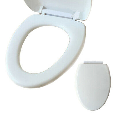 Slow Softs Close White Oval Bathroom Toilet Seat With Bottom Adjustable Hinges
