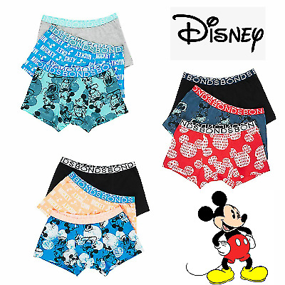BONDS DISNEY BOYS TRUNKS 3 Pack Trunk Underwear Mickey Undies Size 6 8 10 12 14