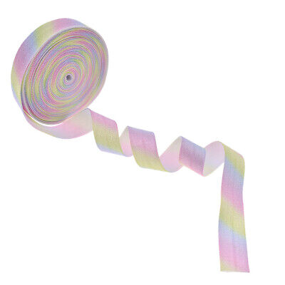 5Yards Rainbow Fold Over Elastic Ribbon Gradient Color Stripe Sewing DIY Trim