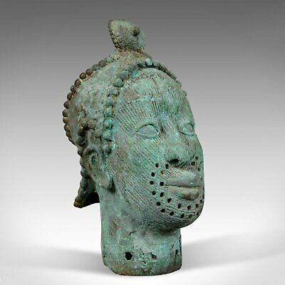 Mid 20th Century African Bronze Bust, Head, Sculpture, Art