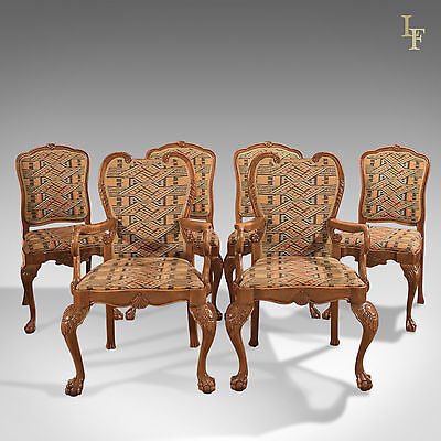 Antique Set of 6 Dining Chairs, Six French Walnut, 19th Century