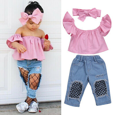 Toddler Kid Baby Girl Outfits Clothes T-shirt Tops Pants Jeans Headband 3PCS Set