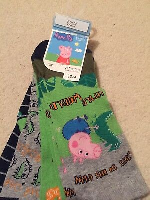 Peppa Pig Dinosaurs Socks Size Child Shoes 9-12 New!