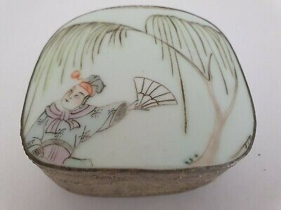 Chinese Porcelain Lidded Silver / Metal Box