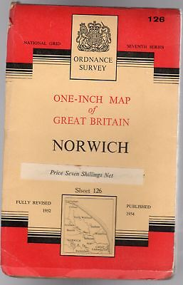 Ordnance Survey  One-Inch Map of Great Britain Sheet 126 Norwich,