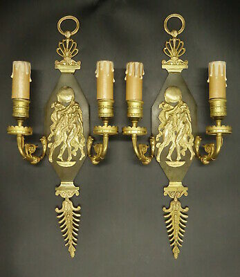 Large Pair Of Sconces, Restauration Style - Bronze - French Antique