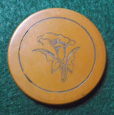 Antique Engraved Clay Poker Chip Yellow Calla Lily Flower Gambling Token