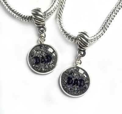 custom colour cremation ashes memorial 12mm round bracelet charm sterling silver