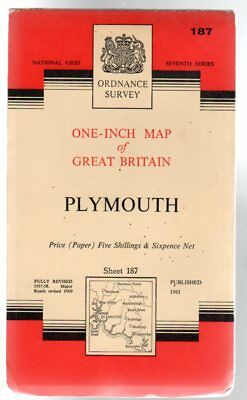 Ordnance Survey  One-Inch Map of Great Britain - Sheet 187 Plymouth, Anon