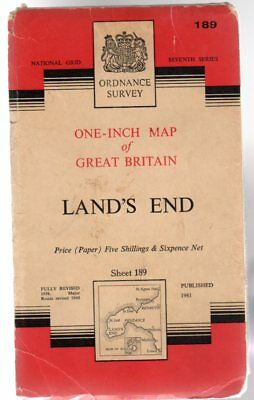 Ordnance Survey  One-Inch Map of Great Britain Sheet 189 Land's End, Anon