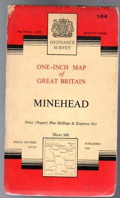 Ordnance Survey  One-Inch Map of Great Britain -  Minehead - Sheet 164,