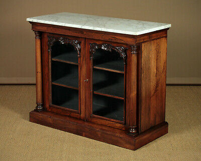Antique William IV Rosewood & Marble Top Bookcase Side Cabinet c.1835.