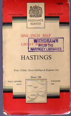 Ordnance Survey  One-Inch Map of Great Britain - Sheet  184 Hastings, Anon