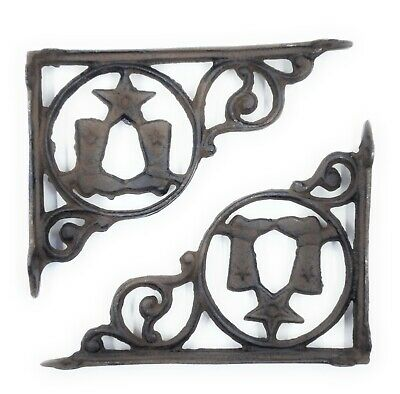 Metal Shelf Support Bracket Cowboy Boots Texas Star Western Decor Hardware Set/2