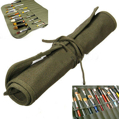 Popular Roll Up Canvas Paint Brush Storage Case Bag For Watercolor Oil RF