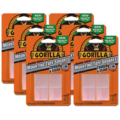 "6 x Gorilla Glue TOUGH & CLEAR Double Sided Mounting Tape 1"" Pre Cut 24 Squares"