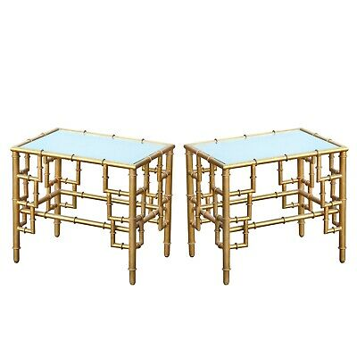 Pair of Gin Shu Metal Bamboo Style Mirrored Gold Gilt Side Coffee Bedside Tables