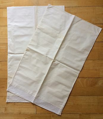 Antique Pillowcases x 2 Yorkshire Cream Raw Linen White Silk Lace Boutique Home