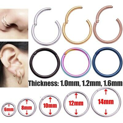 Chic Surgical Steel Hinge Segment Nose Ring Septum Clicker Ear Helix Tragus Ring