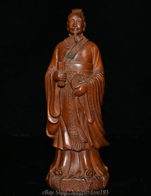 """8.4"""" Old Chinese Boxwood Wood Dynasty Carving Fanli politician wise man Statue"""