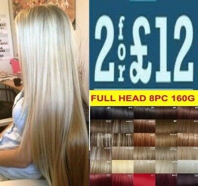 FULL HEAD short & long clip in dark light blonde ash brown feel real extensions