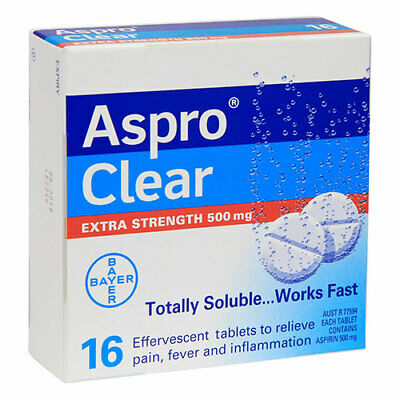 NEW Aspro Pain Relief Tablets Clear 500mg Extra Strength 16 Tablets
