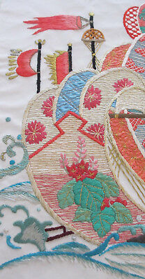 Awesome 17x13 Vintage 40s~50s Japanese Needle Work Embroidery~Ship~Banners~Bird