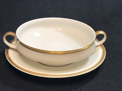 VTG Theodore Haviland LIMOGES White/Gold Trim Soup Bowl w/ Plate Saucer France