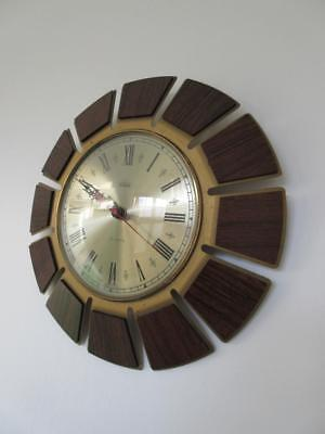 Vintage Retro 1960'S/70'S Smiths Timecal Metal & Wood Effect Quartz Wall Clock